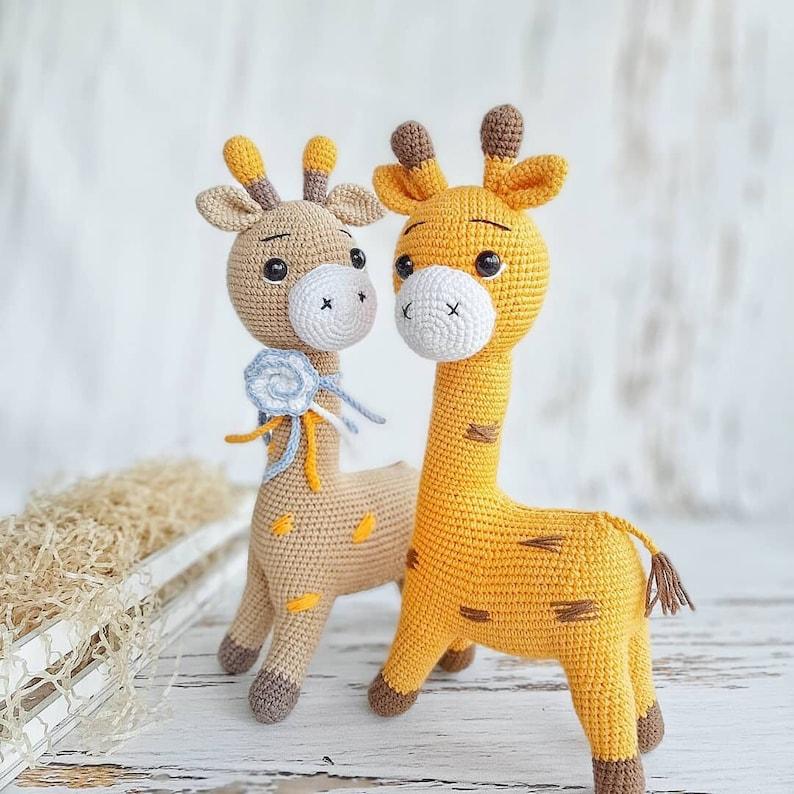 Crochet pattern of toy amigurumi giraffe big and small. Two image 5