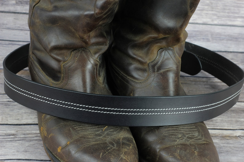 Top Grain Black Leather belt Whip Stitch gift for him made in the USA Men/'s Black Leather Belt