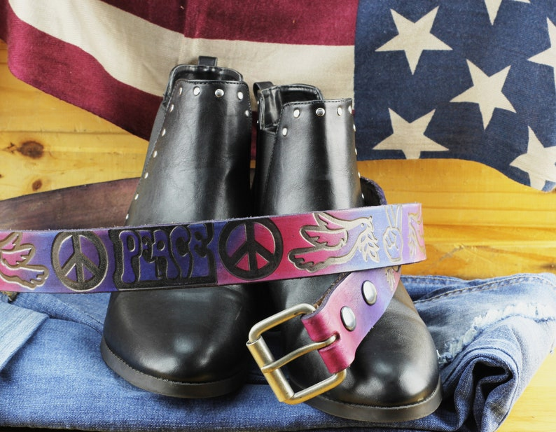Made in the USA gift for her gift for her Peace Sign Tie Dye leather belt Women/'s Leather Belt Blue and Purple Tie Dye