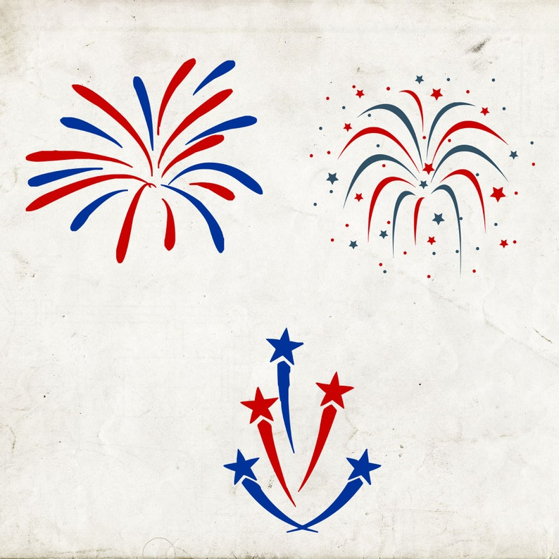 4th Vinyl Decal Firework SVG Svg Cutting File 4th of July Decal Digital Decal Red White Blue Svg 4th of July SVG Firework Decal
