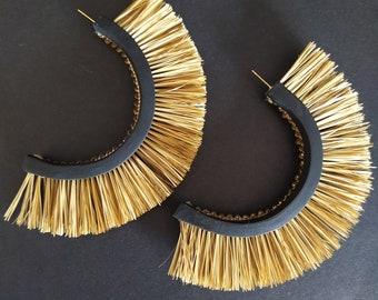 Handmade fringe hoop earrings blackbluegoldpolymer claysurgical steelgiftfor herfriend