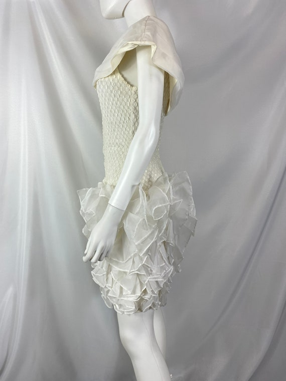 Vintage 80's Cream And White Special Occasion Dre… - image 8