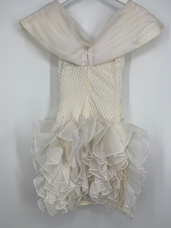 Vintage 80's Cream And White Special Occasion Dre… - image 4