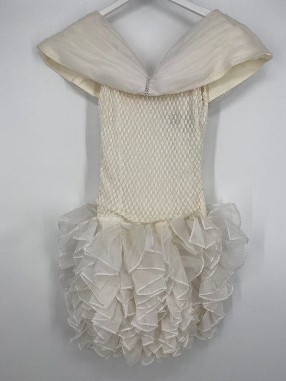 Vintage 80's Cream And White Special Occasion Dre… - image 2