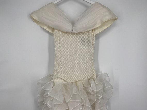 Vintage 80's Cream And White Special Occasion Dre… - image 1