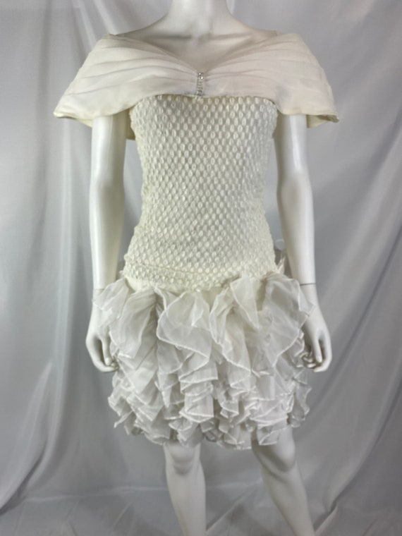 Vintage 80's Cream And White Special Occasion Dre… - image 5