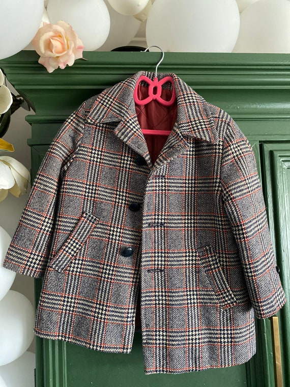 Children's vintage plaid coat
