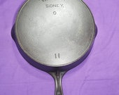 Early 11 Wagner Sidney Cast Iron Skillet with Heat Ring Sits Flat Smooth Level Beautiful 1800s