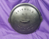 Rare Rare Griswold 11 Cast Iron Skillet Cover Low Dome Fully Marked Raised Letter Self Basting Lid Clean Smooth Large Block Logo EPU 471
