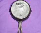 Nice 3F Wagner Cast Iron Skillet with Smooth Bottom Clean Smooth level Sits Flat Ready to Use