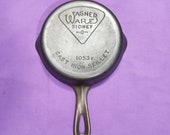 Pie Logo 3 Wagner Cast Iron Skillet with Smooth Bottom Clean Smooth level Sits Flat Ready to Use