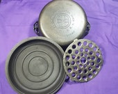 Complete Griswold 8 Cast Iron Dutch Oven with Self Basting Lid, Trivet Bail Handle Erie Pa Usa 1278 1288 Clean Smooth Ready To Use