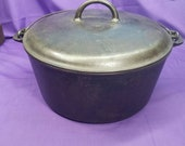 Huge Rare Griswold 11 Cast Iron Tite-Top Dutch Oven with Lid Cover Clean Smooth 12 Quarts VHTF Slant ERIE 836 Ready To Use Or Display