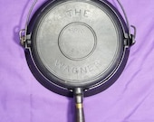 Very Early 1st Series quot The Wagner quot Cast Iron Waffle Maker with Low Base Sits Flat Smooth Clean 1800s Excellent Condition