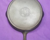 Beautiful 11 Griswold Cast Iron Skillet with Heat Ring Slant Erie Logo Glass Smooth Cooking Surface Ghost Griswold 39 s ERIE logo 717 Rare