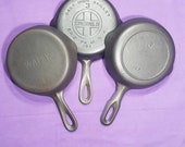 Cast Iron Skillets Trio of 3 Griswold Erie Pa USA Wapak Griswold Iron Mountain Clean and Smooth