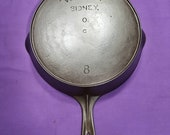 Excellent Early quot Wagner quot Sidney 8 Cast Iron Skillet with Heat Ring Smooth Clean Level Sits Flat 1800s