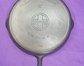 Beautiful 12 Griswold Cast Iron Skillet with Heat Ring Large Block Logo ERIE PA USA Sits Flat Glass Smooth All Original Milling Marks Rare