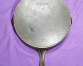 HTF Early Wagner Sidney 10 A Cast Iron Skillet with Heat Ring Smooth Clean 1800s