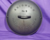 Griswold 9 Cast Iron Tite-Top Dutch Oven Lid Fully Marked Raised Letter Self Basting Cover 2552 Clean Smooth