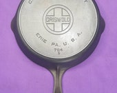 Excellent 8 Griswold Cast Iron Skillet with Heat Ring Large Block Logo ERIE PA USA Sits Flat Glass Smooth 704