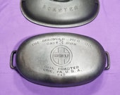 Excellent Griswold Cast Iron 3 Oval Roaster 643 with Marked Cover Lid 644 Clean Extremely Smooth Matching Block Logo Erie PA USA 4 Quarts