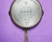 Excellent 8 Griswold Cast Iron Skillet with Heat Ring Slant Erie PA USA Logo Smooth 704N Level Clean sits Flat Beauty