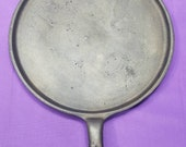 Very Early Cast Iron Heart Handled Flat Griddle with Stove Eye Ring Clean 1800s Thin Walled 4 Ready To Use Or Display