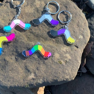 Heckin/' Pride Acrylic Keychains 2.5 in Double-Sided LGBTQ Charm Cute LGBT Glitter Lettering Keychain