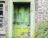 A Green Door | Old Cottage Door with Monochrome Stone Walls. Digital Photo Download in Four Sizes. Print and Enjoy