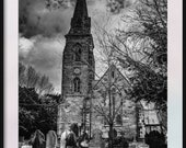 Gothic Church and Graves in Black and White. England. Instant Digital Download in Three Sizes of Photo