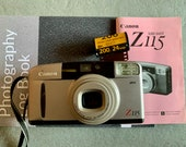 Canon Sure Shot Z115 35mm Film camera with 24 exposure Kodak camera and Photography Log Book. Film Tested