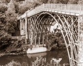 The Iron Bridge. Shropshire Landmark. Vintage Look Square Image for Immediate Download. Instant Digital Download