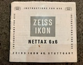 Zeiss Ikon Nettax 6 x 6 Manual. In good condition.