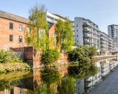 Nottingham Canal. View of Industrial Buildings and Apartments along Nottingham Canal, England. Instant Digital Download in Four Sizes