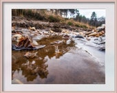 Stream with a Stone. Digital Download Photograph in Four Sizes. Part of the Aqua Collection by RW Jemmett. Instant Digital Download