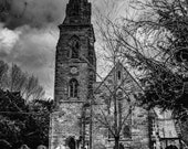 Gothic Church and Graves in Black and White | England| Instant Digital Download in Three Sizes