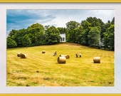 Going for a Picnic Photo to Print. Family Walking through a Field with Hay Bales and White Folly  Print at Home. Instant Download to Enjoy