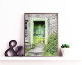 A Green Door. Old Cottage Door with Monochrome Stone Walls. Digital Photo Download in Four Sizes. Print and Enjoy. Instant Digital Download