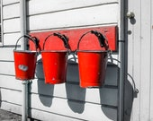 Three Red Fire Buckets Hanging on a wall with monochrome Background. Instant Digital Download in Four Sizes