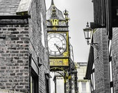 Chester Eastgate Clock in Gold and Monochrome. Instant Digital Download Photograph in Two Sizes. Instant Digital Download
