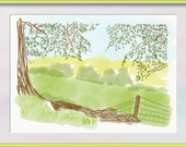 Yorkshire Countryside. A Sketch by Claire. 7x5 A4 or A5