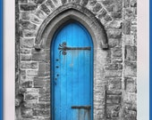 Blue Door, Penzance. A photograph of a locked blue door taken in low light (grainy). Instant Digital Photo Download in Four sizes
