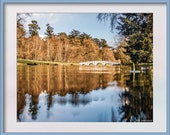 A White Bridge Photo to Print. Lake and Bridge taken at  Water Level Part of the Aqua Collection. Digital Download in Four Sizes to Print