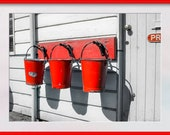 Three Red Fire Buckets Hanging on a wall with monochrome Background. Digital Photo Download in Four Sizes. Instant Digital Download