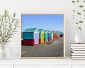Beach Huts. A Row of Colourful Beach Huts. Square Photograph Instant Digital Download. Instant Photo Download.