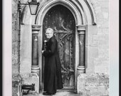 Morning Vicar! Photograph of Vicar in Church Doorway in Five Sizes. Instant Photo Download. Print at Home. Film Image.