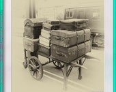 Vintage Suitcases. Sepia Style. Instant Digital Download. One Image in Ratio 1x1 for Home Printing