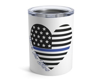 Personalized Lined Flag Tumbler ~  Grey and Black Woodgrain ~ OzarkRTICYeti ~ Police Firefighter  EMT  LEO Wife Gift