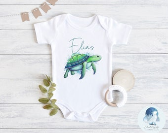 Summer girl cotton outfit turtle baby shower gift turtle shirt tropical dress